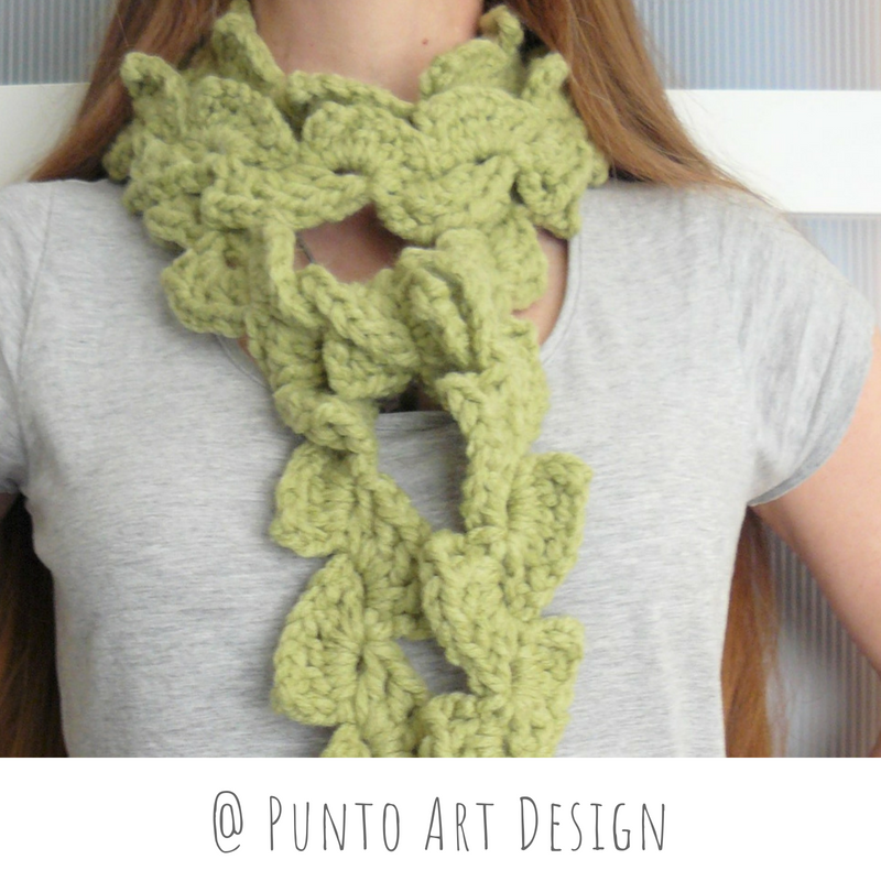 Green leaves long scarf
